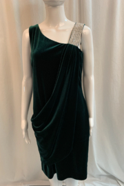 Frank Lyman Emerald Green Velvet Dress with Rhinestone Detail - Product Mini Image