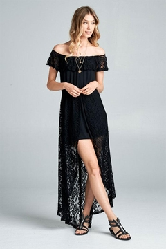 Emerald Lace Jersey Off Shoulder Romper Maxi - Product List Image