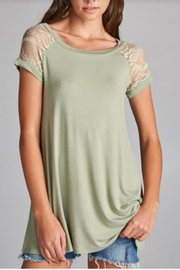 Emerald Lace Trimmed Top - Front full body