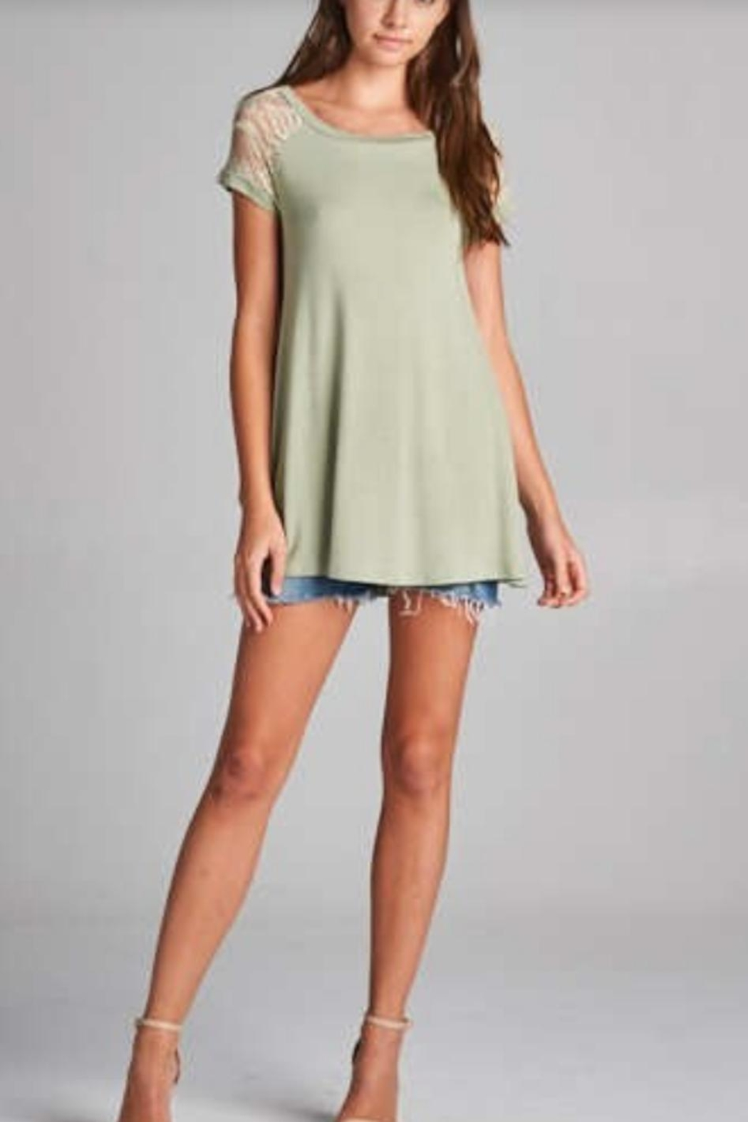Emerald Lace Trimmed Top - Side Cropped Image
