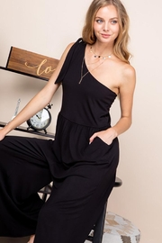 Emerald One Shoulder Bow Wide Leg Jumpsuit - Front full body