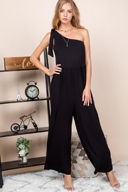 Emerald One Shoulder Bow Wide Leg Jumpsuit - Front cropped
