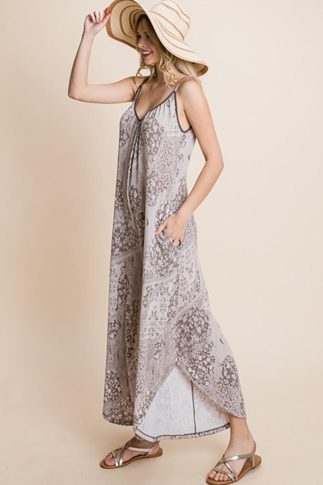 Emerald Paisley French Terry Printed Wide Leg Jumpsuit - Front Full Image