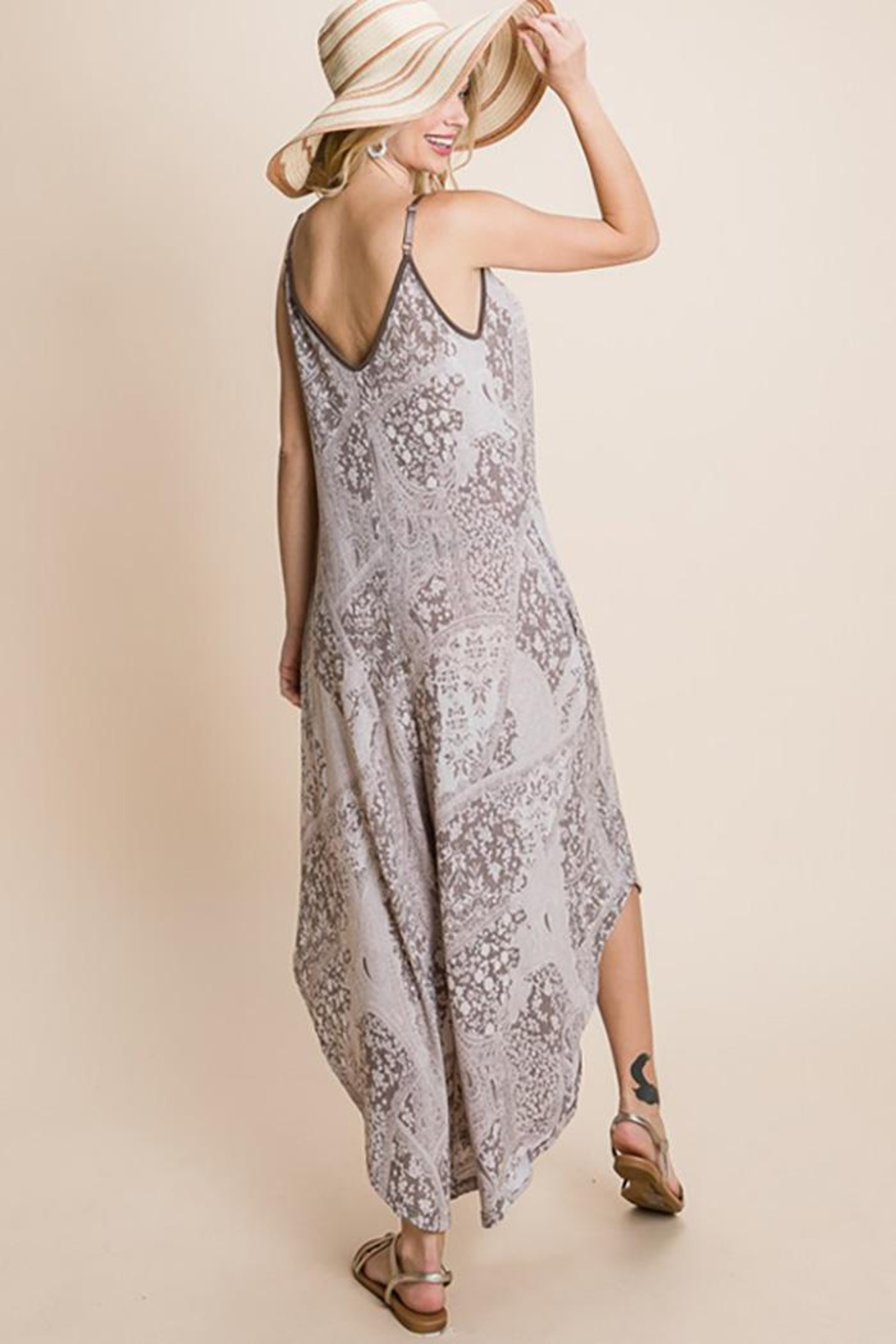 Emerald Paisley French Terry Printed Wide Leg Jumpsuit - Side Cropped Image