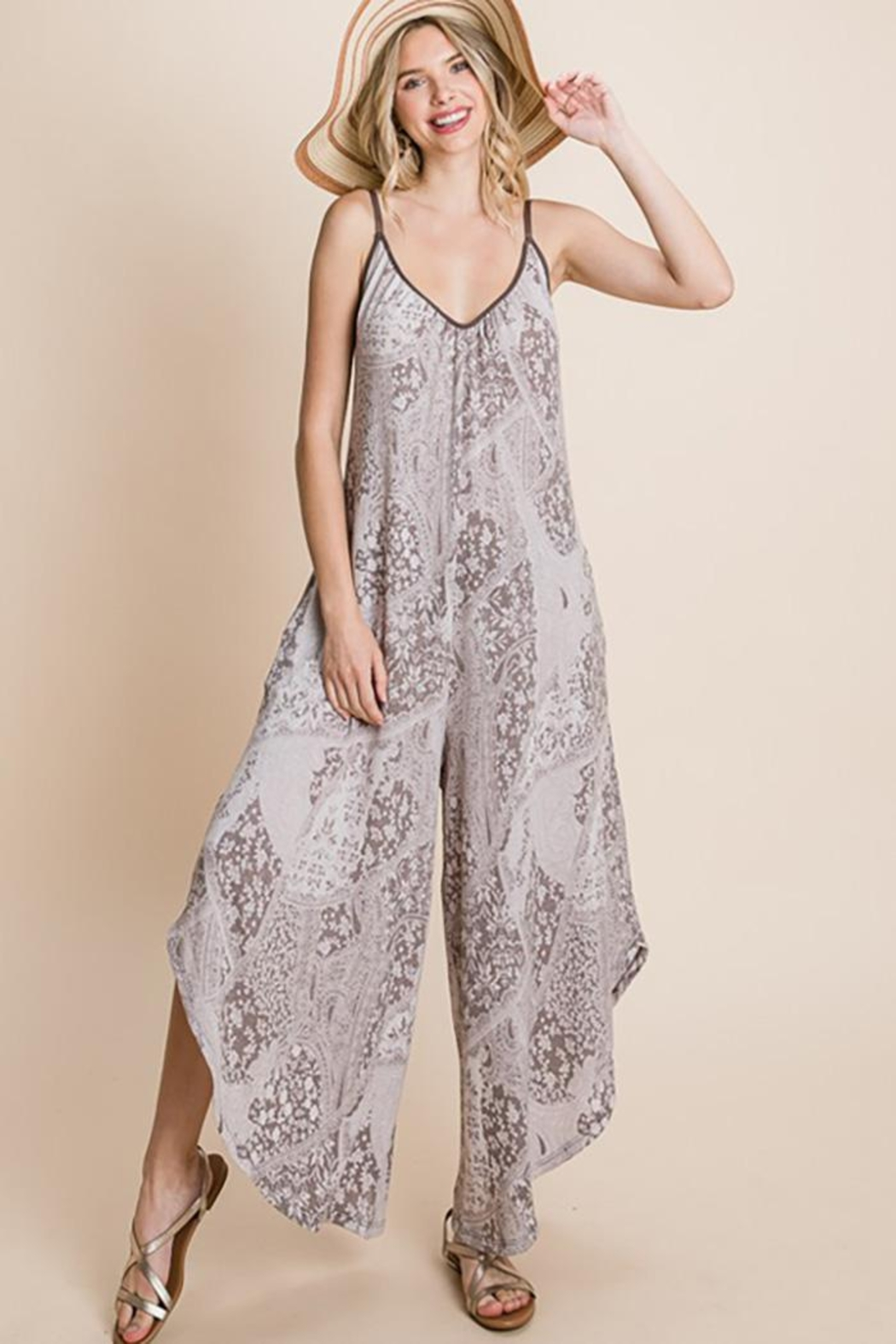 Emerald Paisley French Terry Printed Wide Leg Jumpsuit - Back Cropped Image