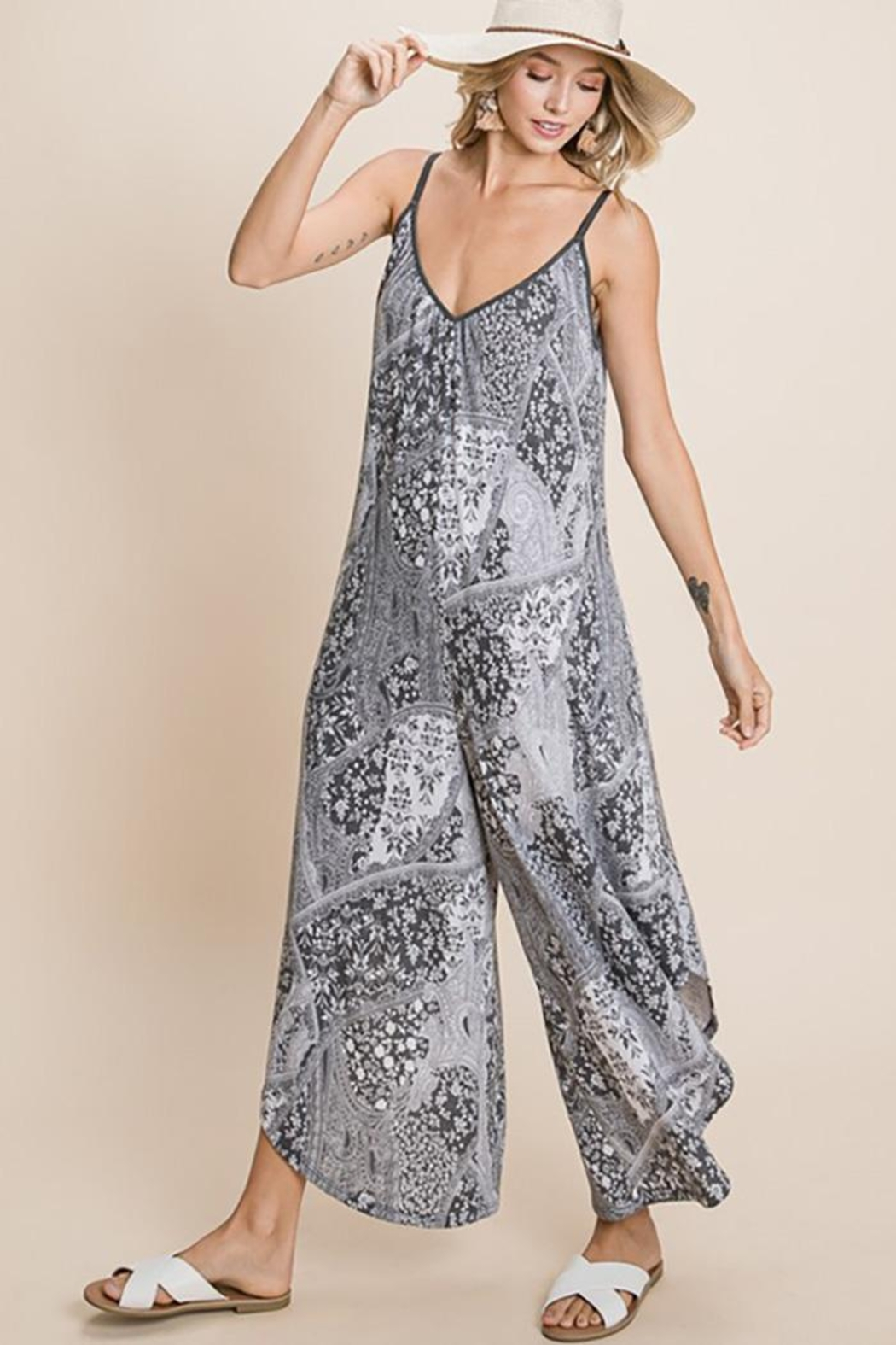 Emerald Paisley French Terry Printed Wide Leg Jumpsuit - Main Image