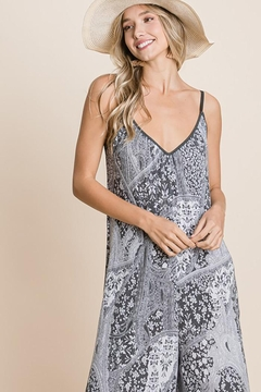 Emerald Paisley French Terry Printed Wide Leg Jumpsuit - Alternate List Image