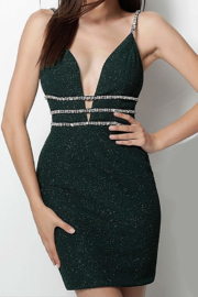 Jovani Emerald Plunging Neck Spaghetti Straps Short Dress - Product Mini Image