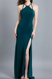 Dave and Johnny emerald strap back gown with slit - Product Mini Image