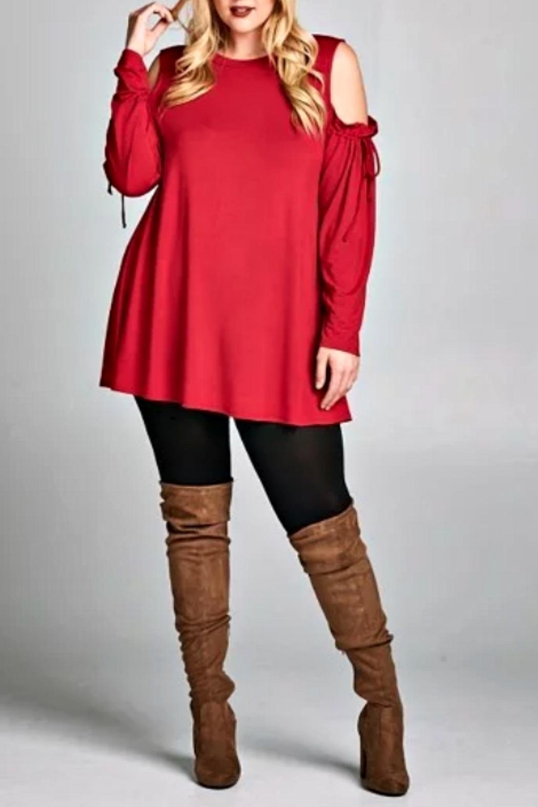 Emerald Valarie Red Tunic - Front Cropped Image