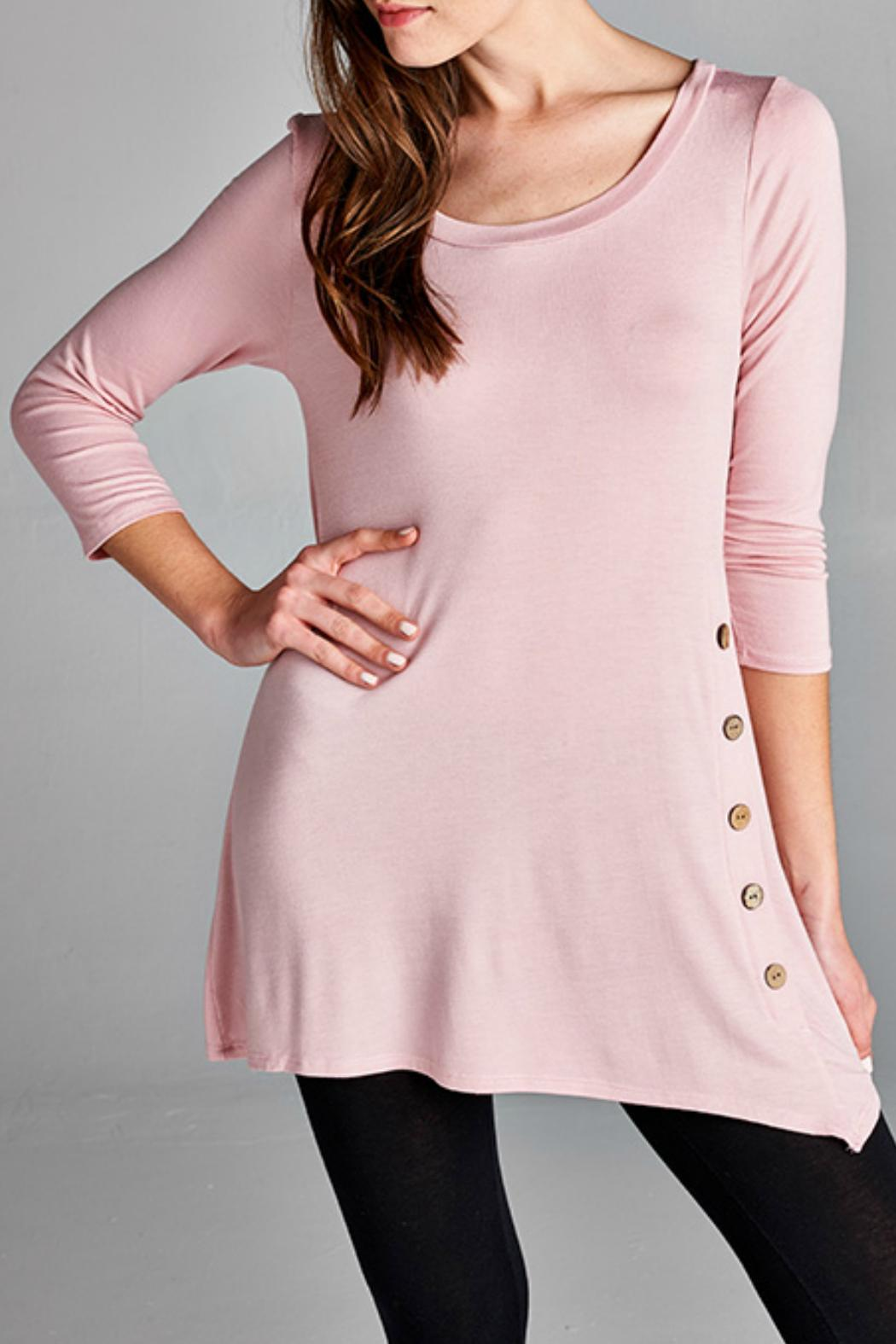 EMERALD COLLECTION Button Embellished Tunic - Front Cropped Image