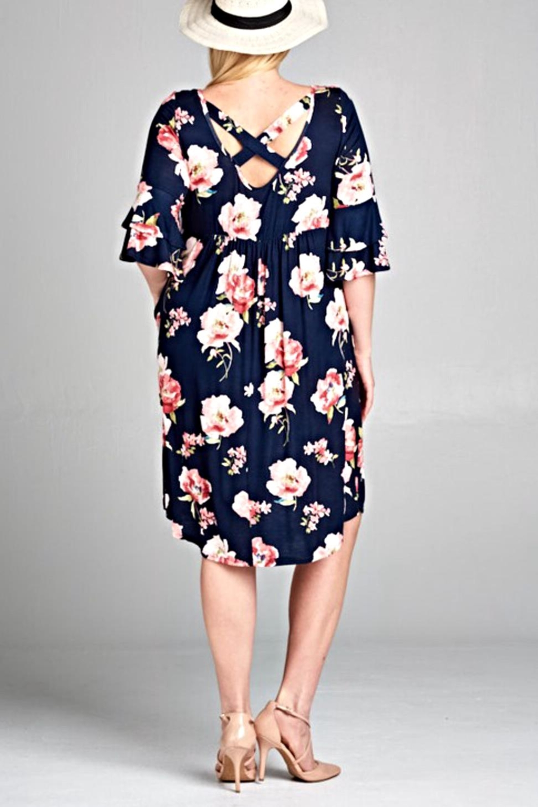 EMERALD COLLECTION Navy Floral Dress - Front Full Image