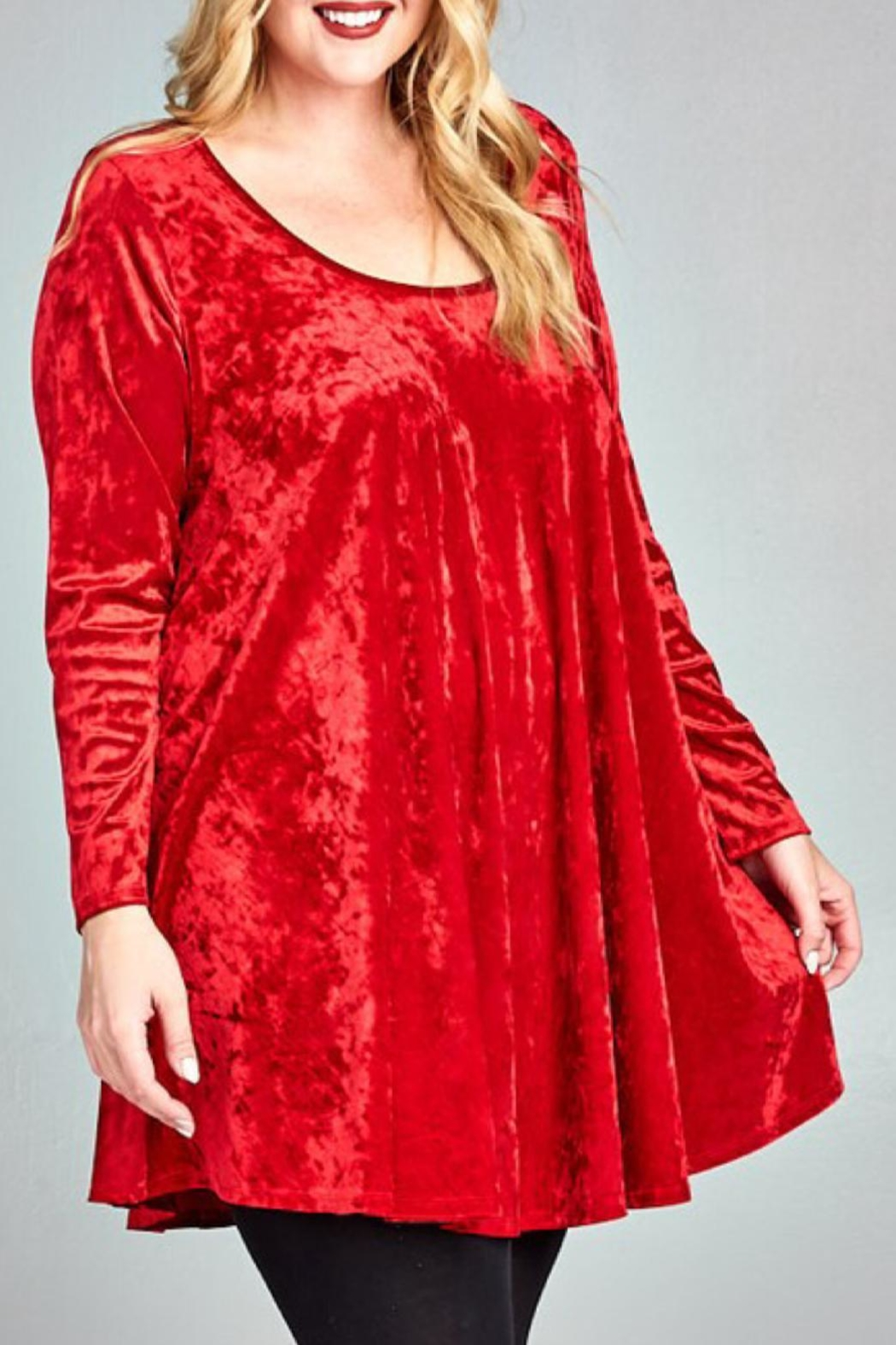 EMERALD COLLECTION Red Velvet Tunic - Main Image