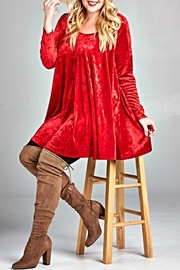 EMERALD COLLECTION Red Velvet Tunic - Front full body