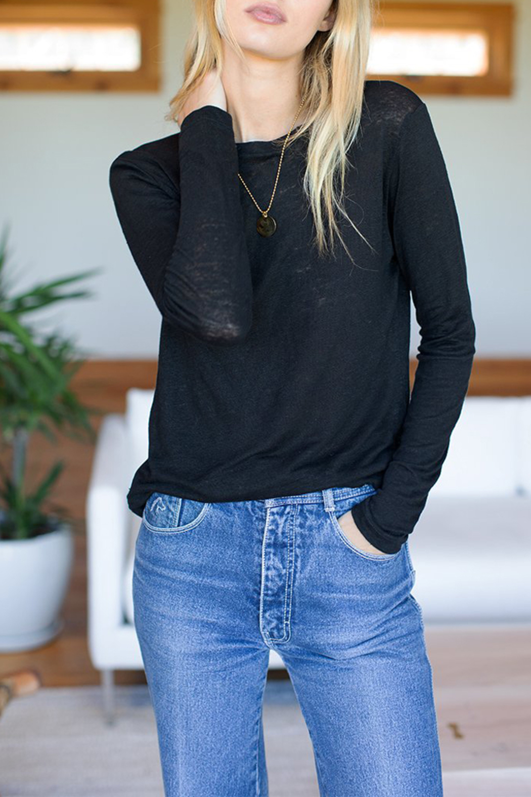 Emerson Fry Crew Neck Linen Long Sleeve Top - Back Cropped Image
