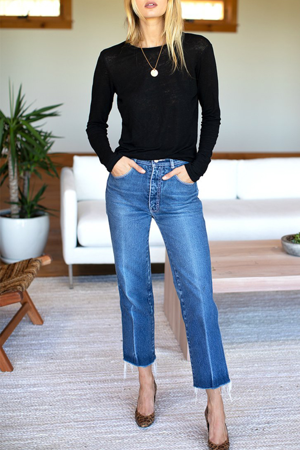 Emerson Fry Crew Neck Linen Long Sleeve Top - Front Full Image
