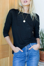 Emerson Fry Crew Neck Linen Long Sleeve Top - Front cropped