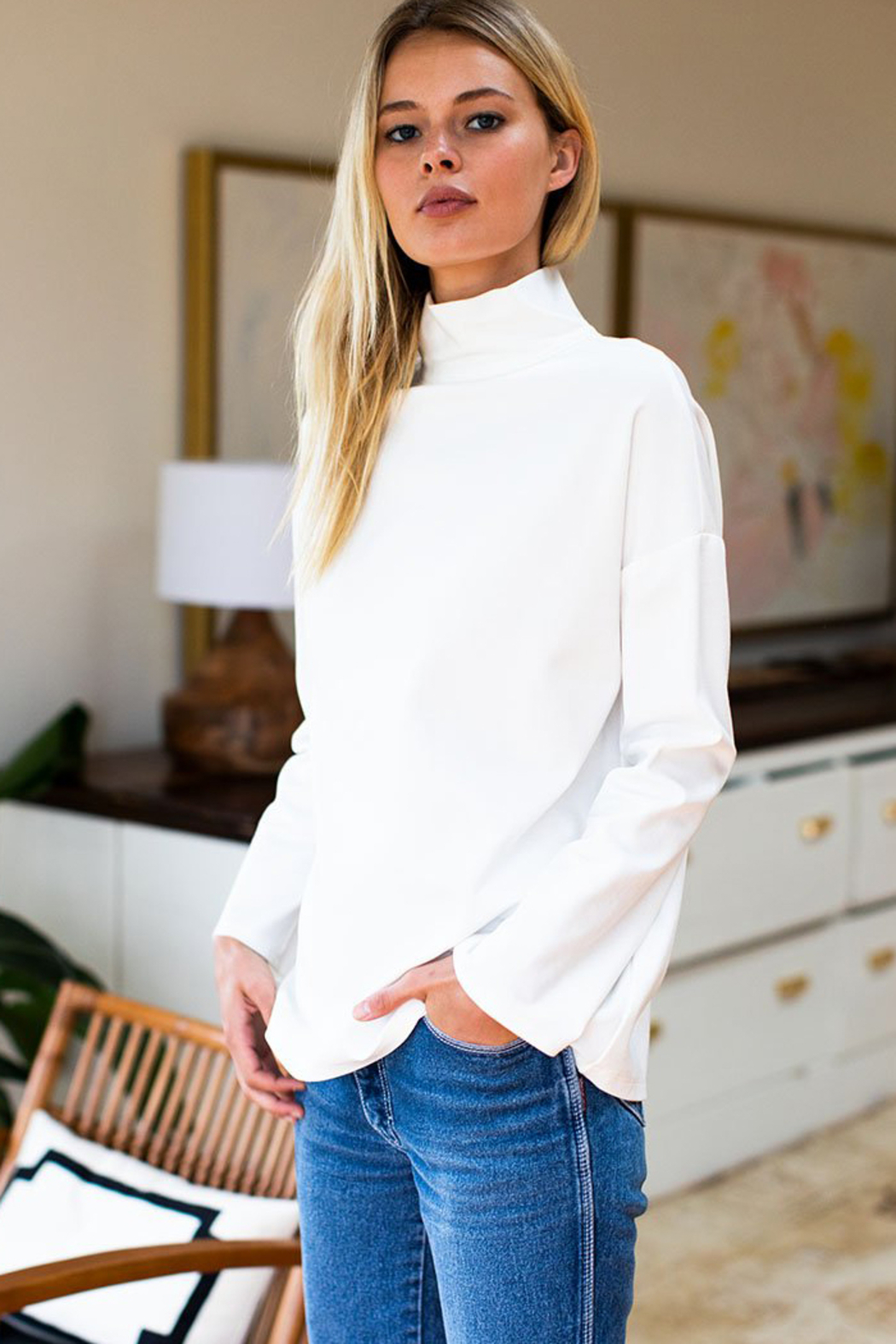Emerson Fry Edie Mock Neck Ponte Top - Front Full Image