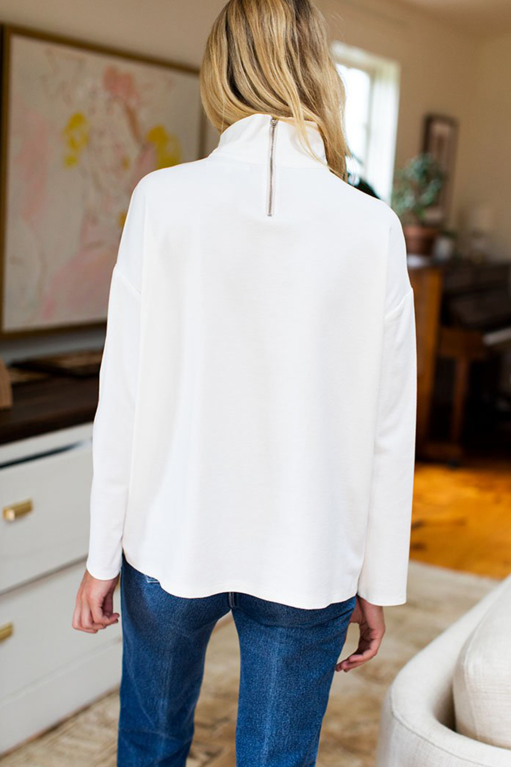 Emerson Fry Edie Mock Neck Ponte Top - Side Cropped Image