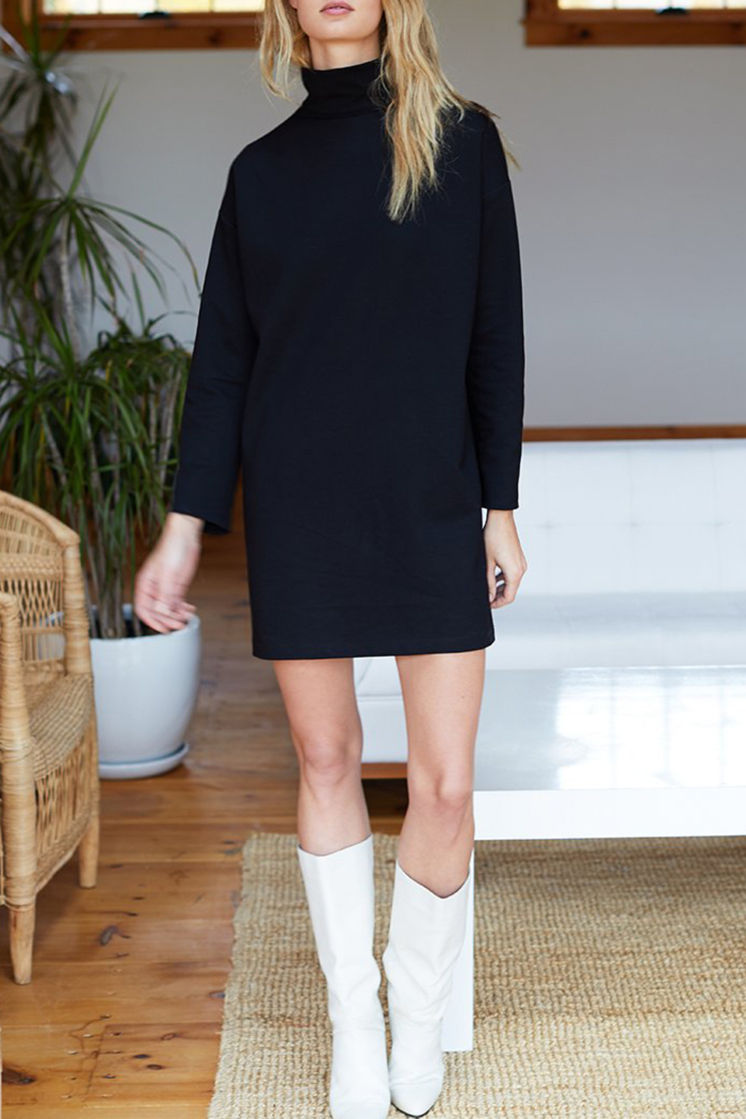 Emerson Fry Edie Ponte Turtleneck Dress - Front Cropped Image