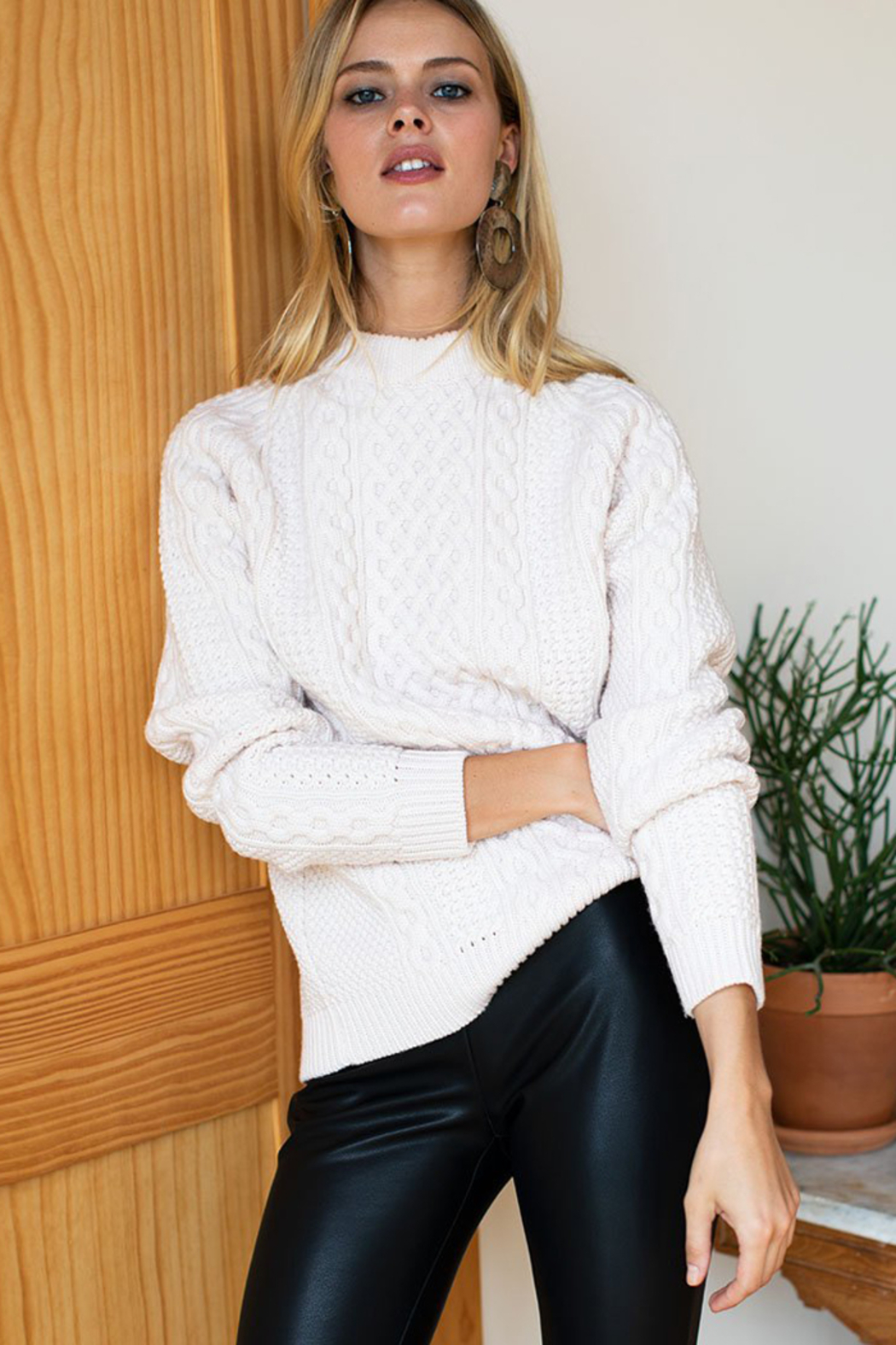 Emerson Fry Fisherman Knit Sweater - Back Cropped Image