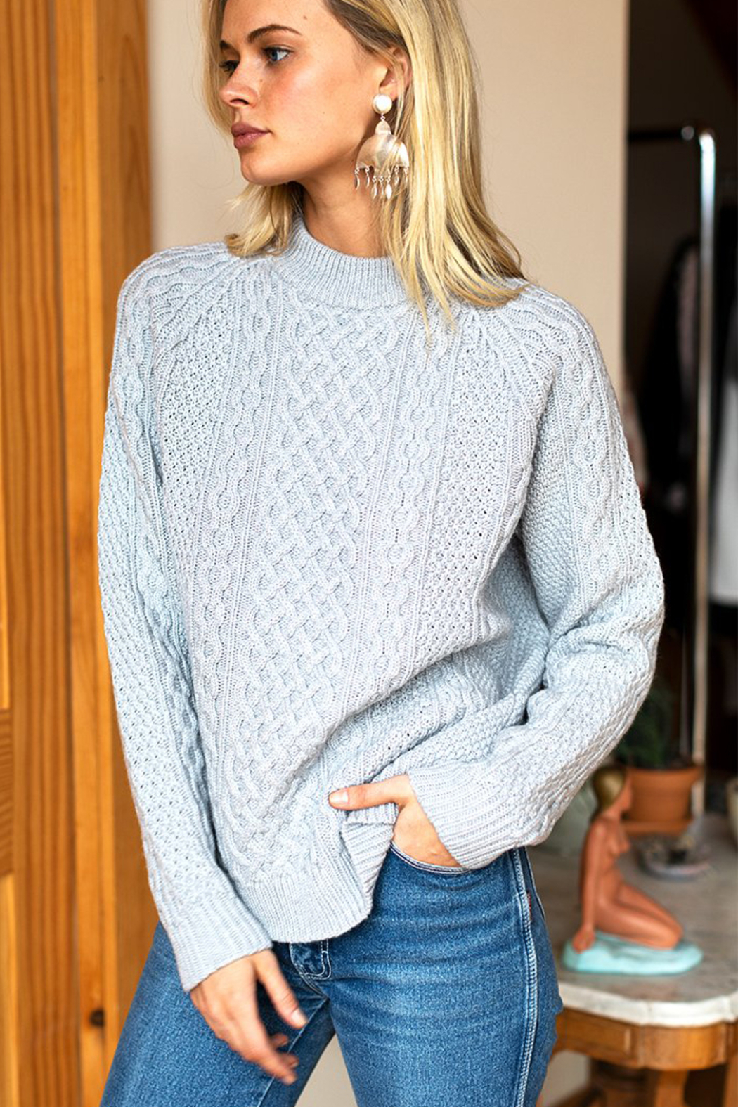 Emerson Fry Fisherman Knit Sweater - Side Cropped Image