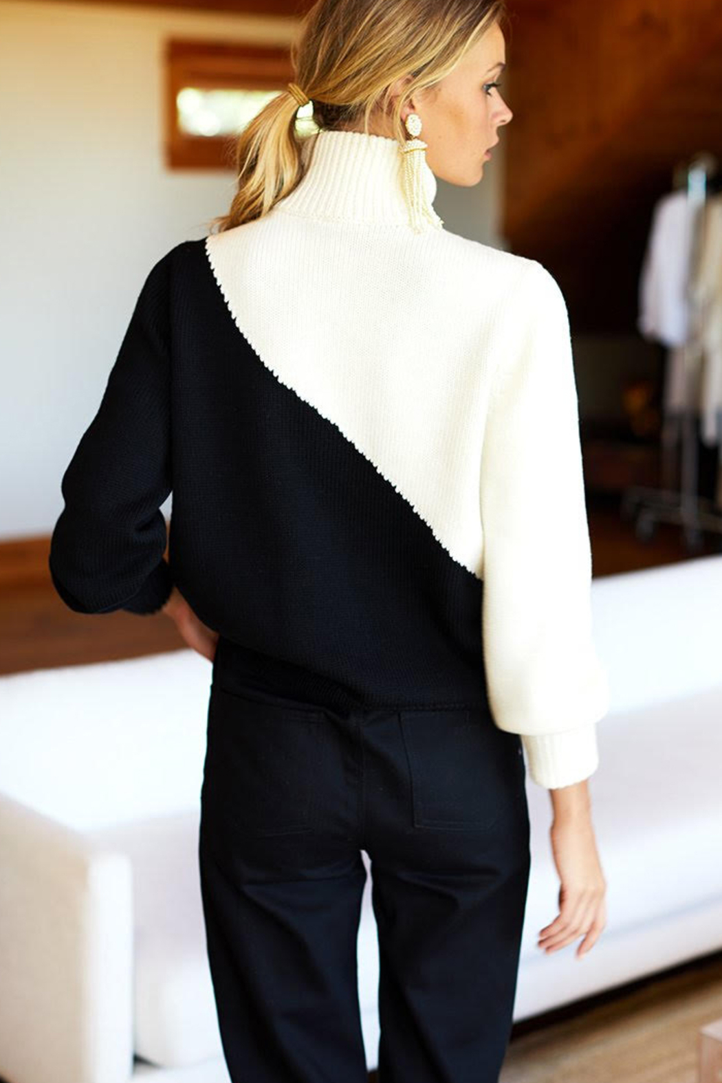 Emerson Fry Mila Colorblock Merino Wool Sweater - Side Cropped Image