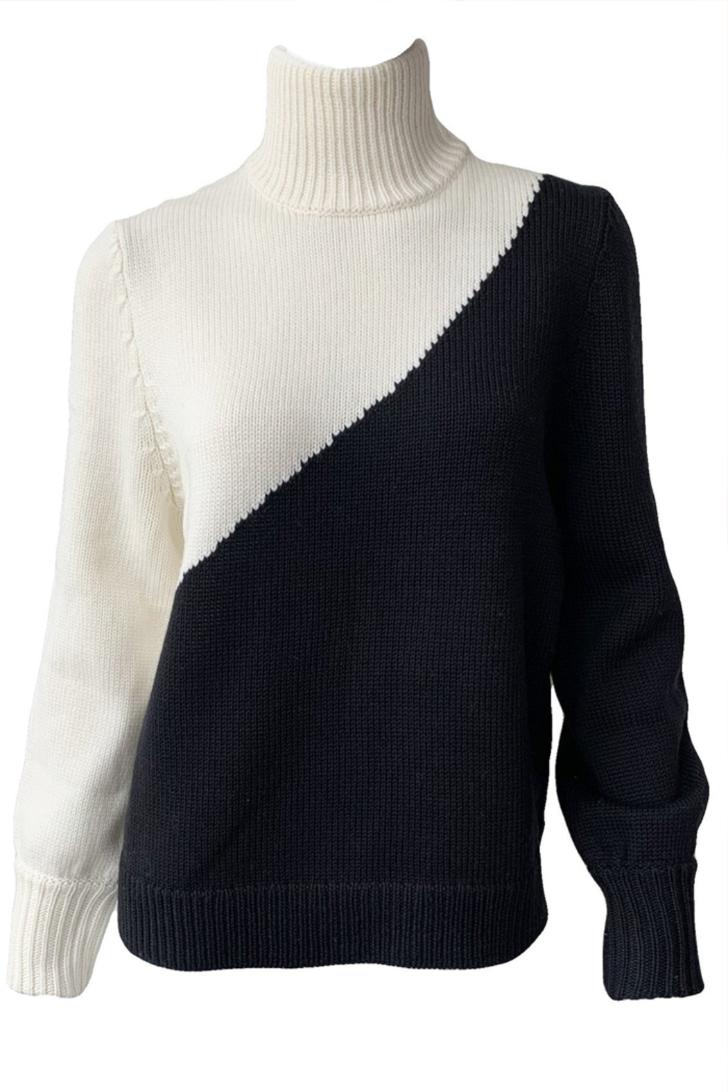 Emerson Fry Mila Colorblock Merino Wool Sweater - Back Cropped Image