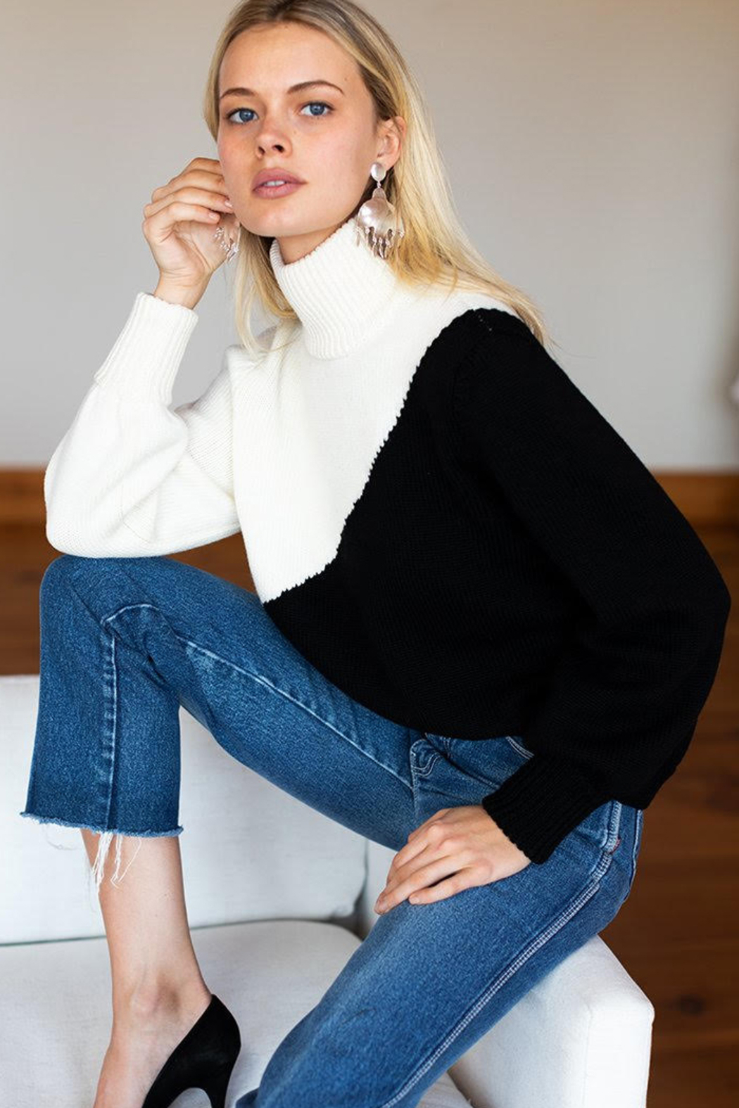 Emerson Fry Mila Colorblock Merino Wool Sweater - Front Full Image