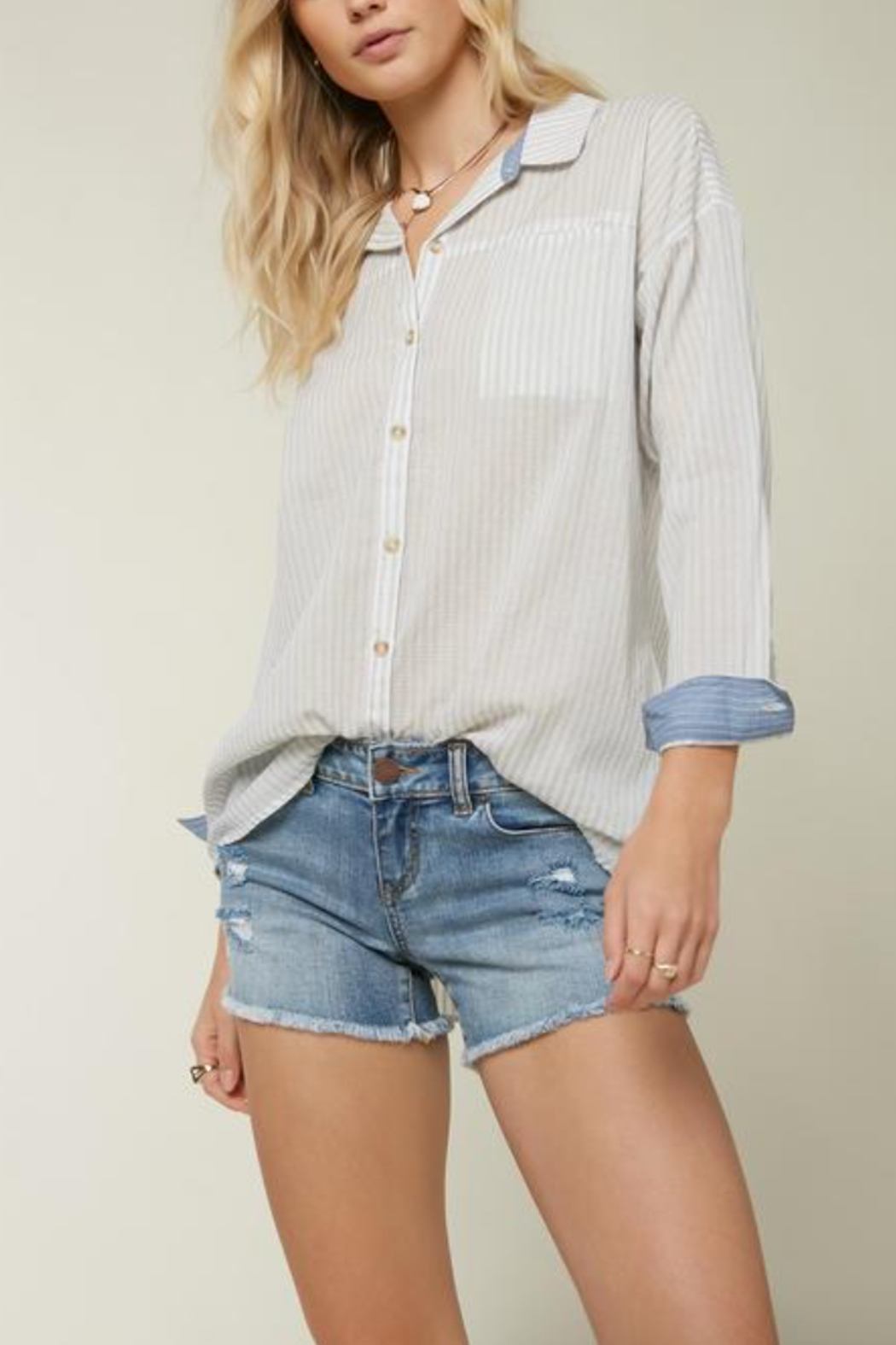 O'Neill Emett Button Up Top - Front Cropped Image