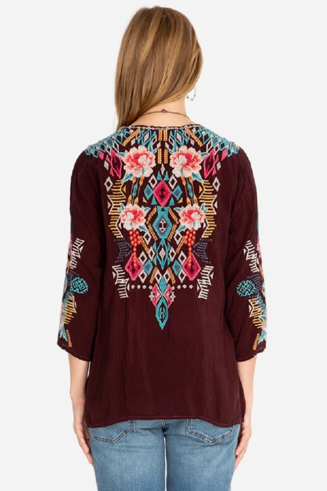 Johnny Was Collection Emmaline Embroidered Blouse - Side Cropped Image