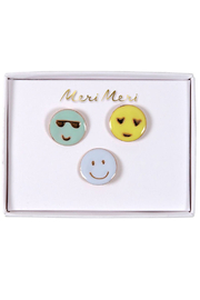 Meri Meri Emoji Pins Set Of 3 - Front cropped