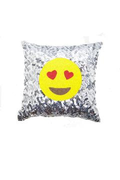 Shoptiques Product: Emoji Silver Hearts Pillow