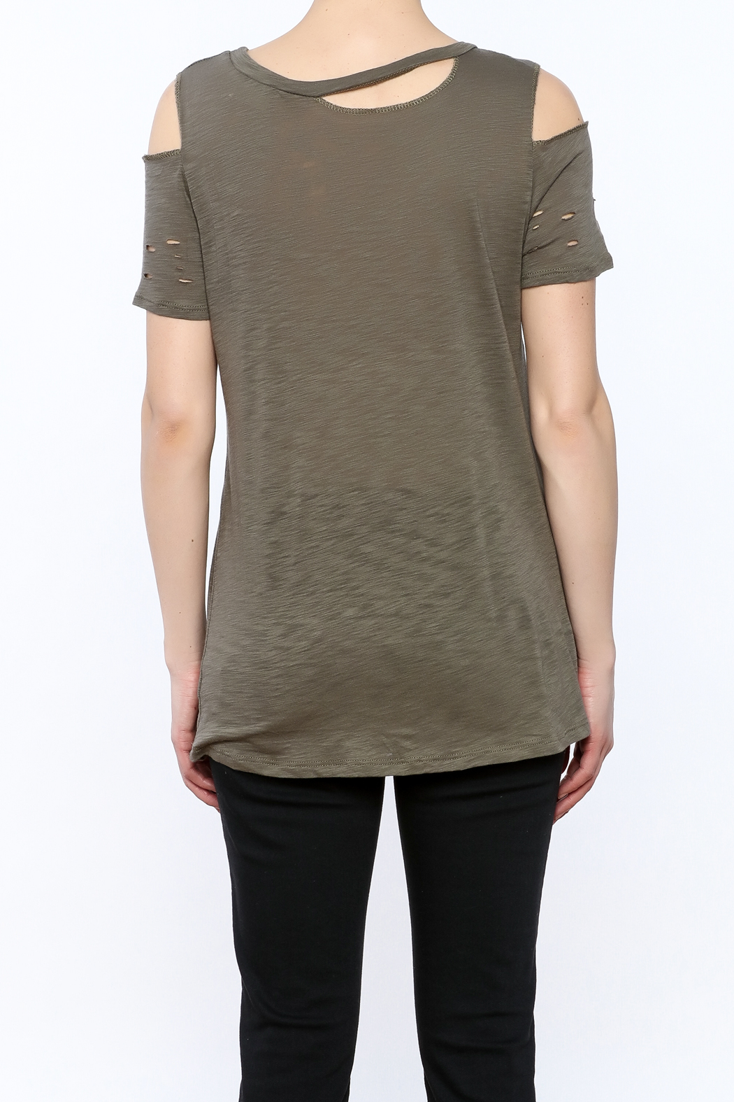 Emory Park Olive Distressed Graphic Tee - Back Cropped Image