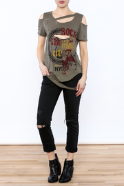 Emory Park Olive Distressed Graphic Tee - Front full body