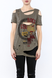 Emory Park Olive Distressed Graphic Tee - Side cropped