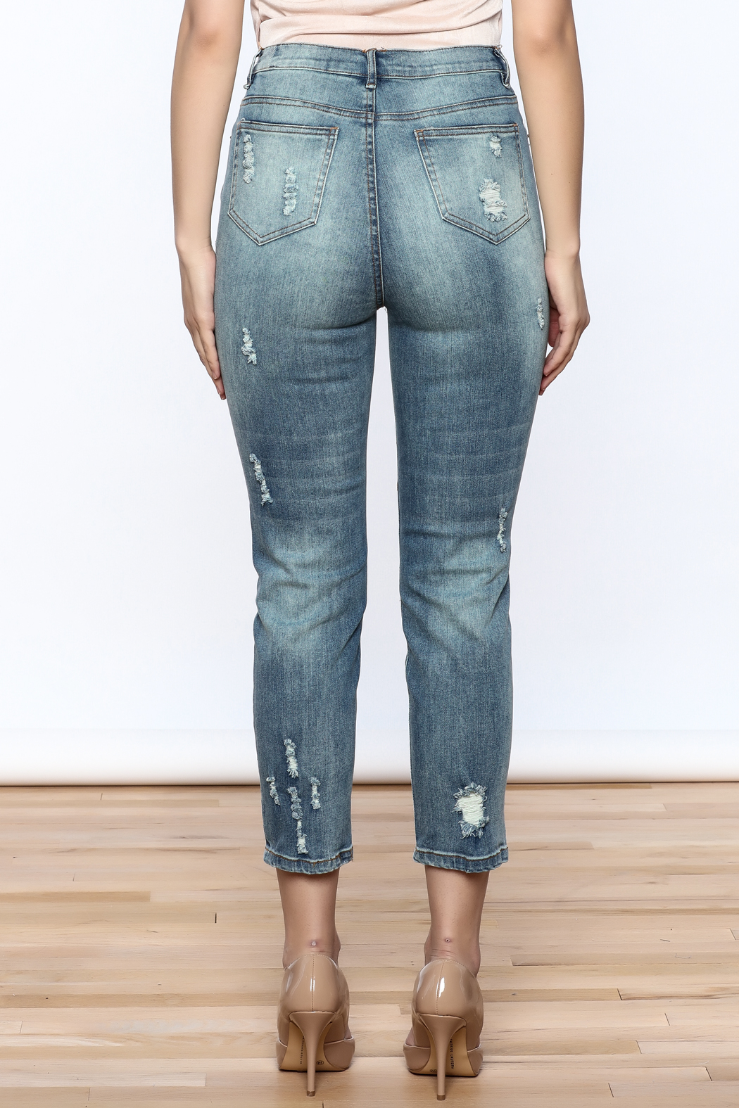 Emory Park Embroidered Denim Jeans - Back Cropped Image