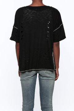 Shoptiques Product: Black Distressed Graphic Tee