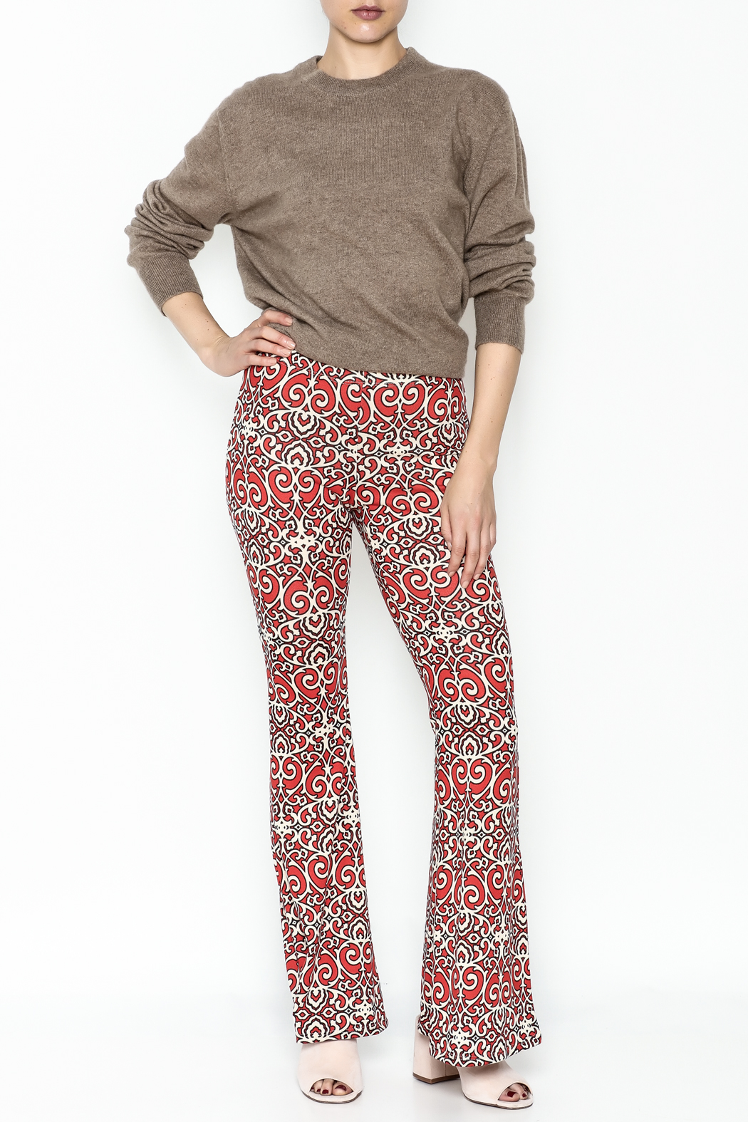 Emory Park Red Print Pants - Side Cropped Image