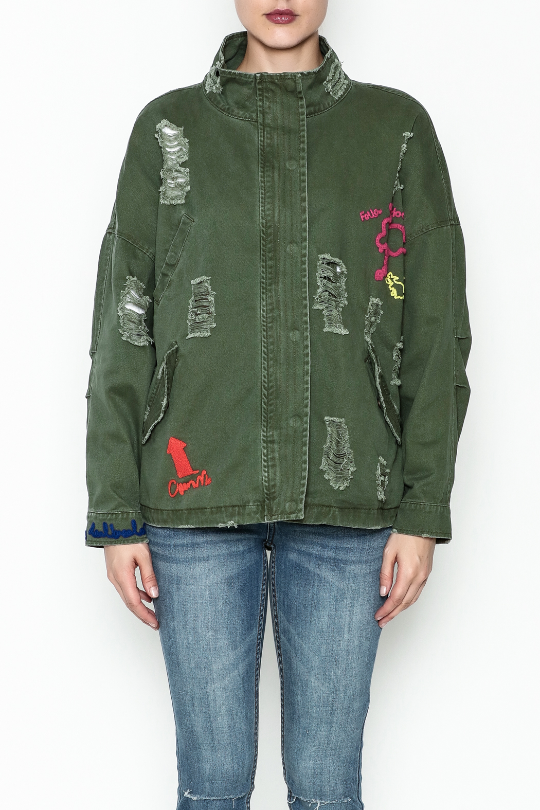Emory Park Ripped Military Jacket - Front Full Image