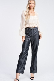 Emory Park Belted Leather Pants - Back cropped