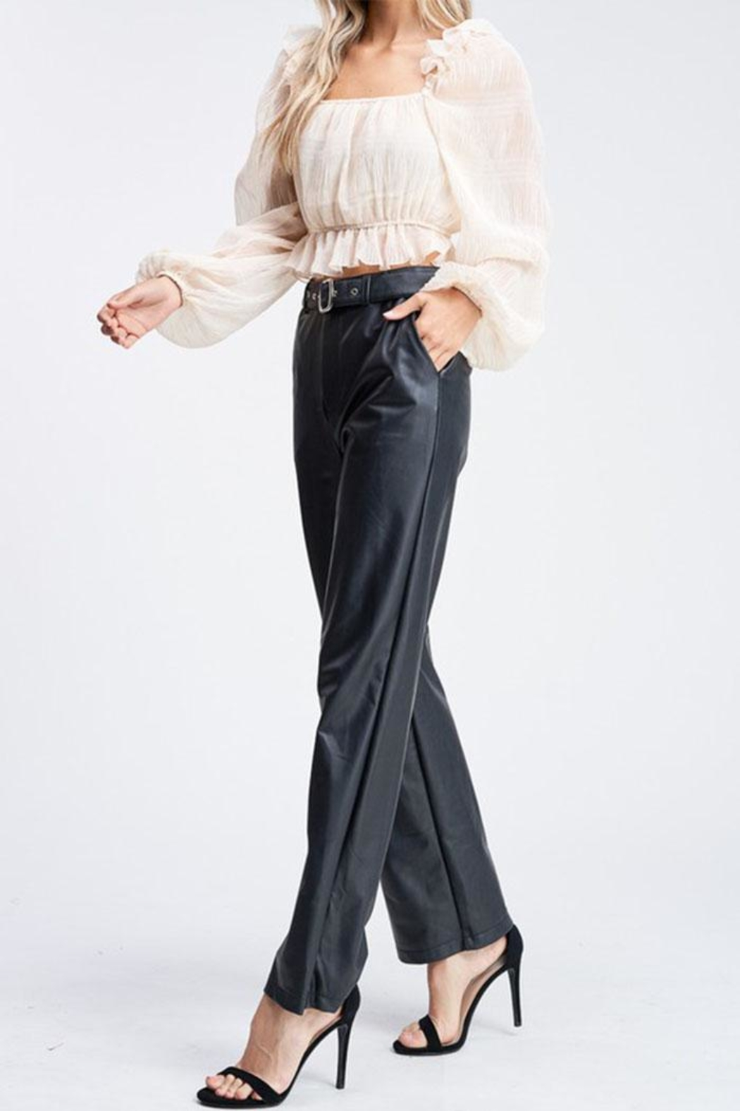 Emory Park Belted Leather Pants - Side Cropped Image