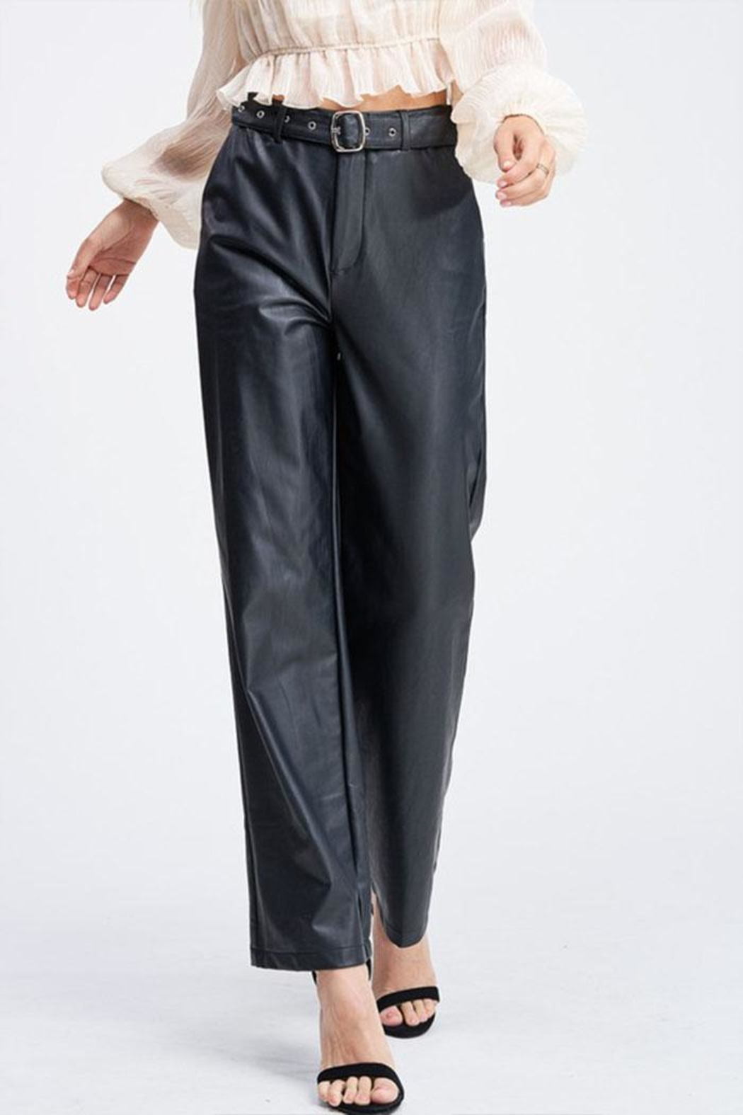 Emory Park Belted Leather Pants - Main Image