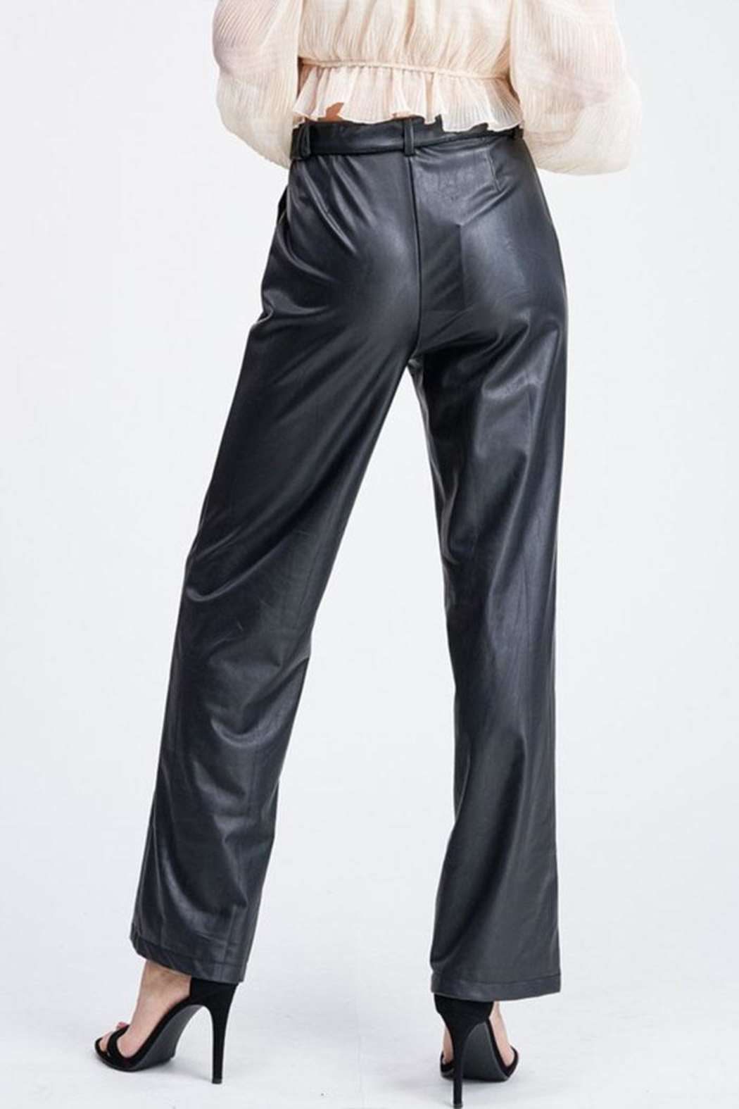 Emory Park Belted Leather Pants - Front Full Image