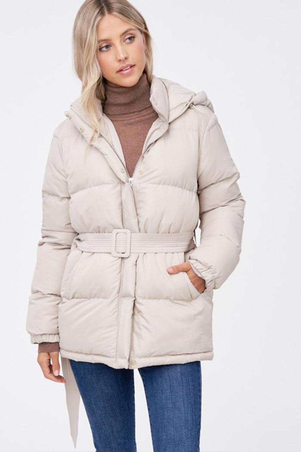 Emory Park Belted Puffer Jacket - Front Full Image