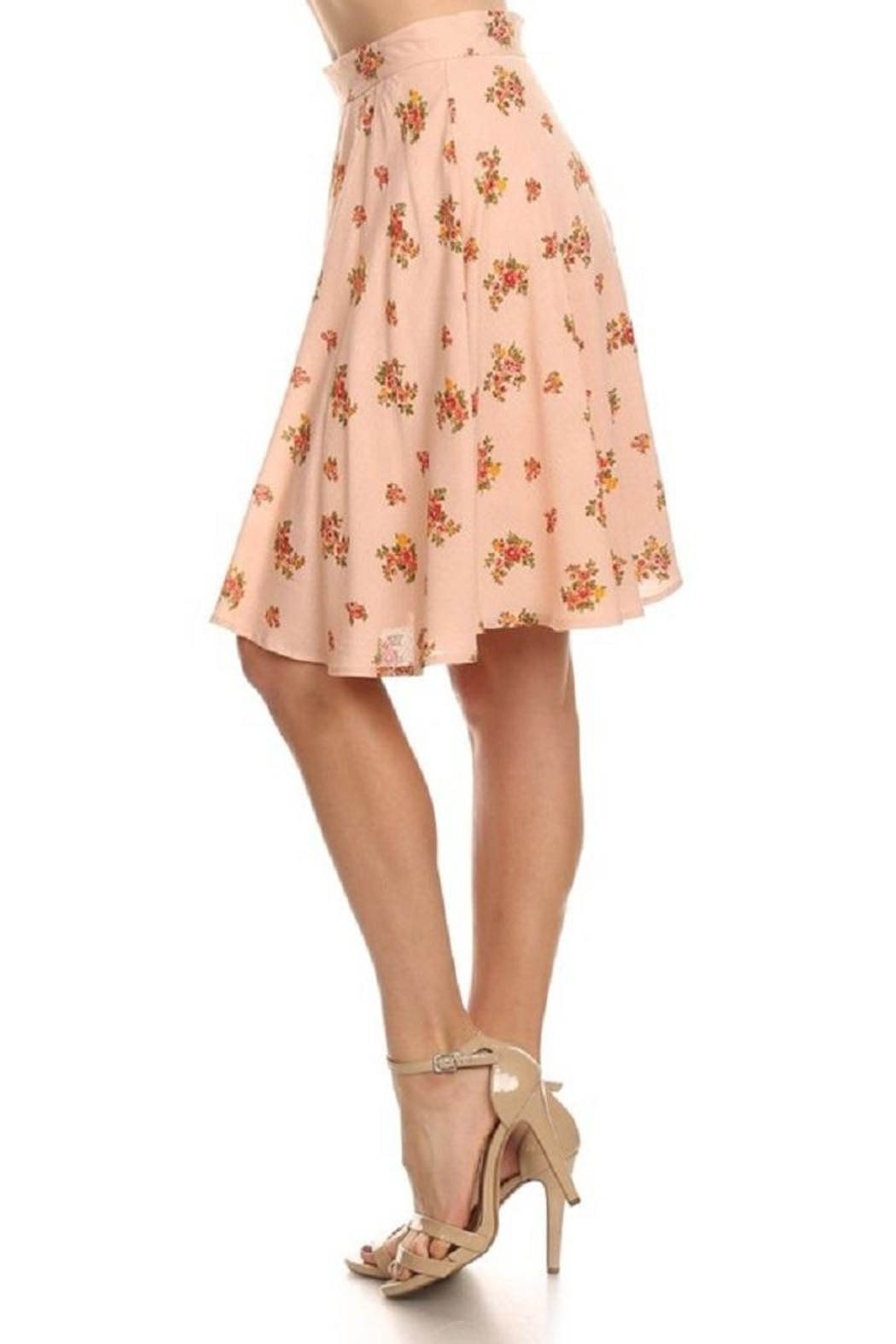 Emory Park Peach Floral Skirt - Side Cropped Image