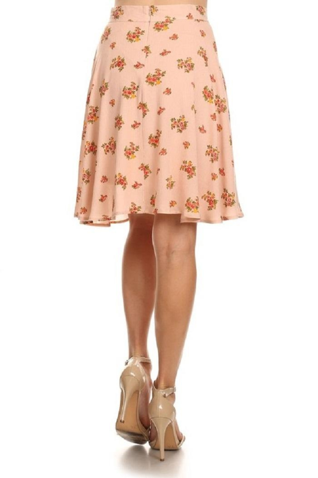 Emory Park Peach Floral Skirt - Front Full Image