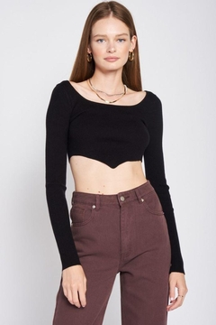 Shoptiques Product: Boat Neck Cropped Sweater Top
