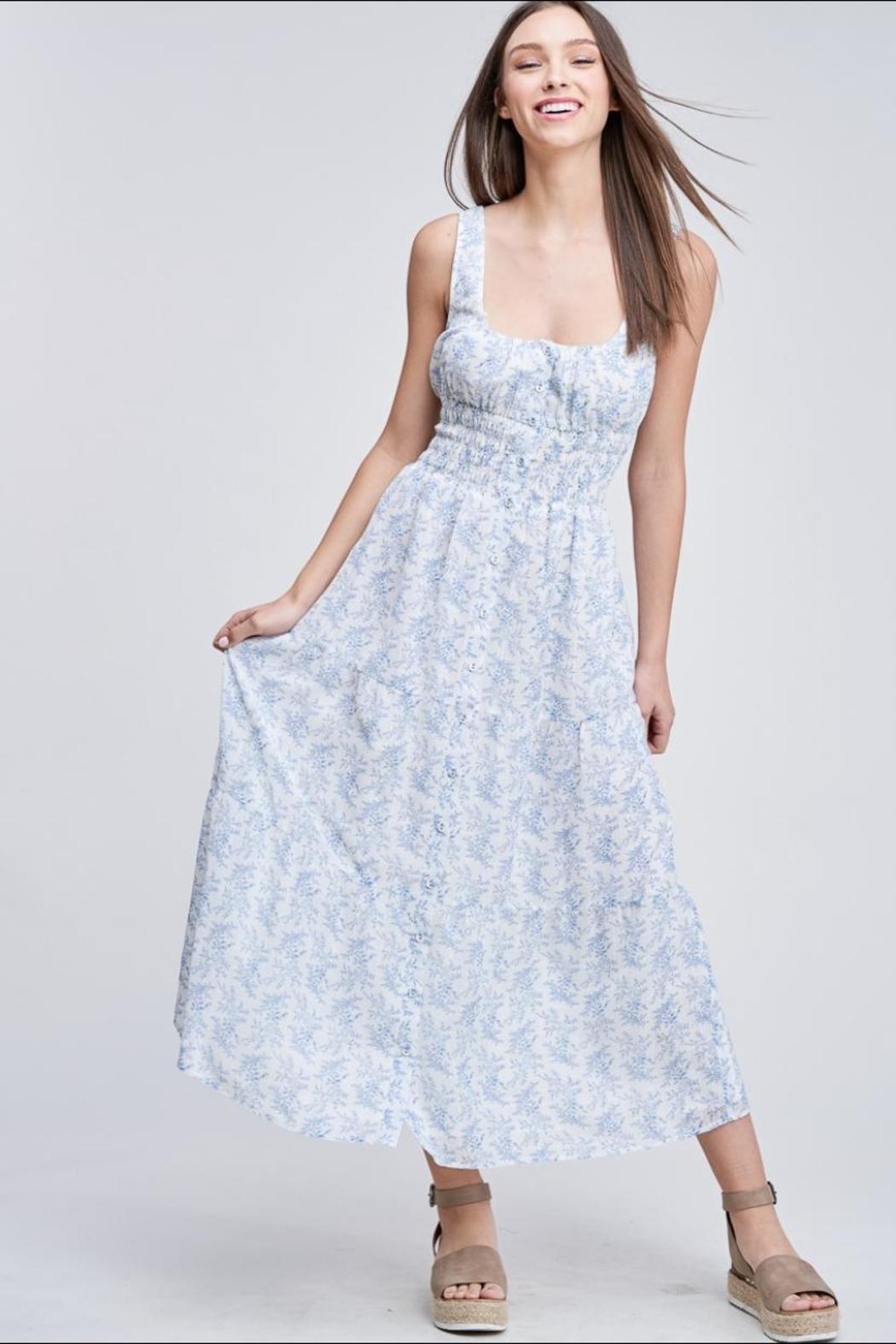Emory Park Button-Down Floral Dress - Front Full Image