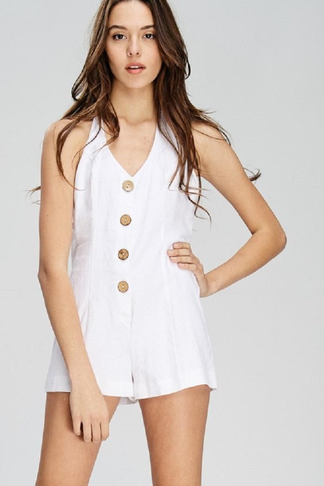 Emory Park Button Front Romper - Back Cropped Image